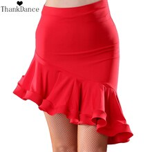 Jupe de danse latine irrégulière femmes Costume Latin rouge noir jupe latine Samba Tango robes de danse irrégulière pour la pratique