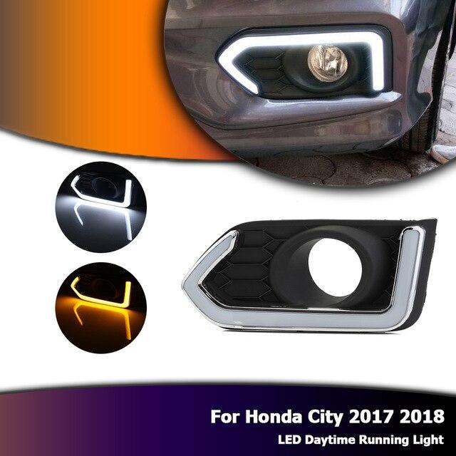 1 conjunto amarelo turnning relé de sinal 12v luzes do carro drl luzes diurnas para honda city 2017 2018 led acessórios