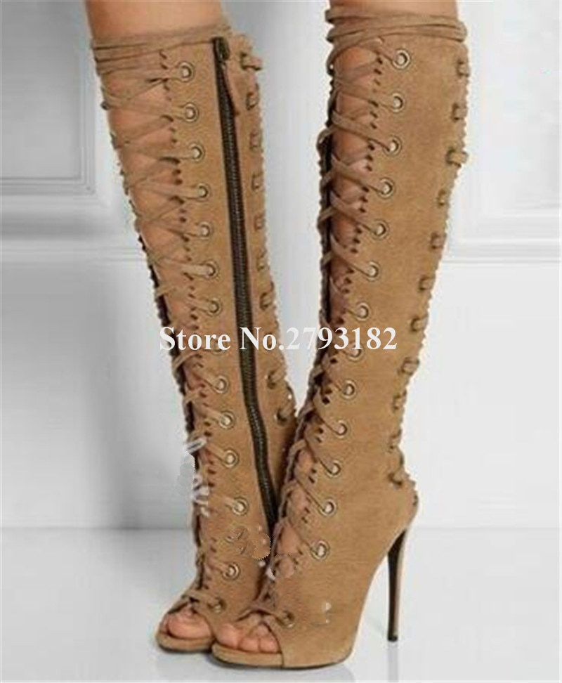 Marca de moda feminina aberto do dedo do pé camelo couro camurça preta salto fino joelho alto gladiador botas de renda recortada botas de salto alto