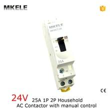 Contacteur Ac domestique 24V 25A   2P 2NO, Din Rail, avec contacteurs de commande manuelle, Kontaktor