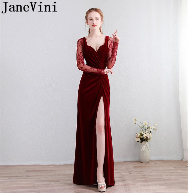 JaneVini-Vestidos de terciopelo Borgoña para madrina, vestido de fiesta de boda con...