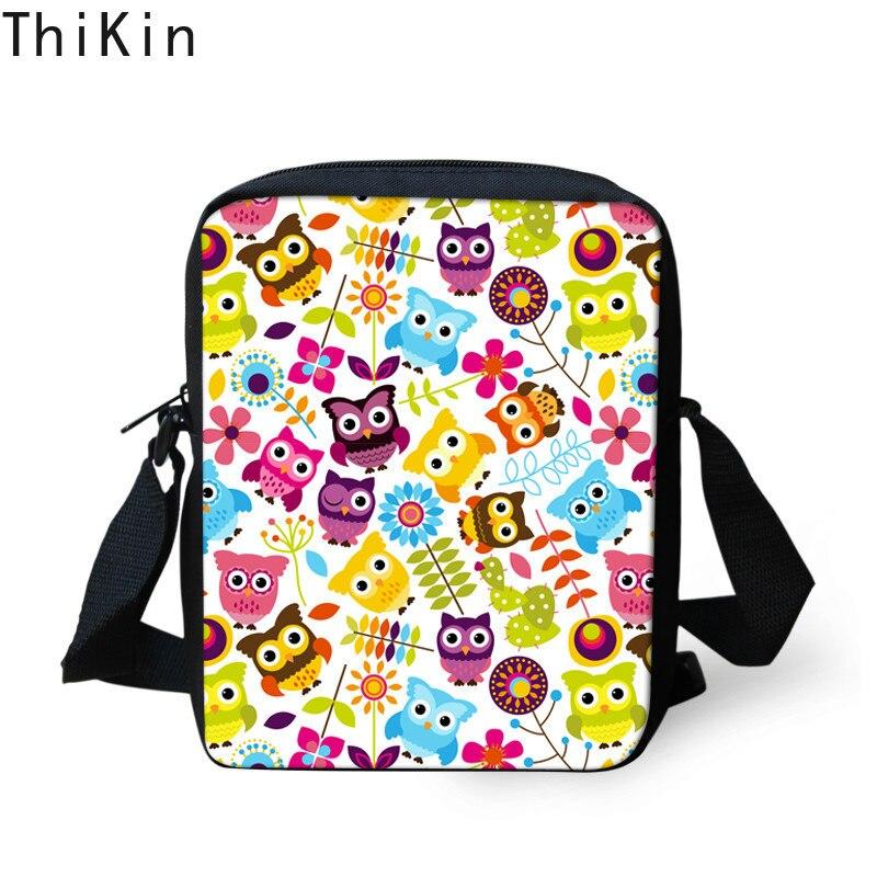 THIKIN, Mini bolso de mensajero para mujer, bonito bolso cruzado con estampado de búho para chicas, bolso Original de viaje para mujer, bolso de hombro para mujer