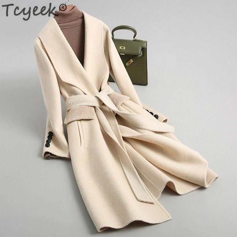 Tcyeek-Abrigos largos de lana para Mujer, chaquetas de lana para oficina, ropa...