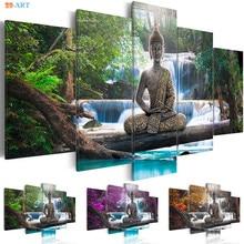 Posąg buddy wydruki artystyczne plakat z naturą płótno 5 Panel płótno malarstwo ścienne artystyczne zdjęcia na ścianę do salonu Home Decor