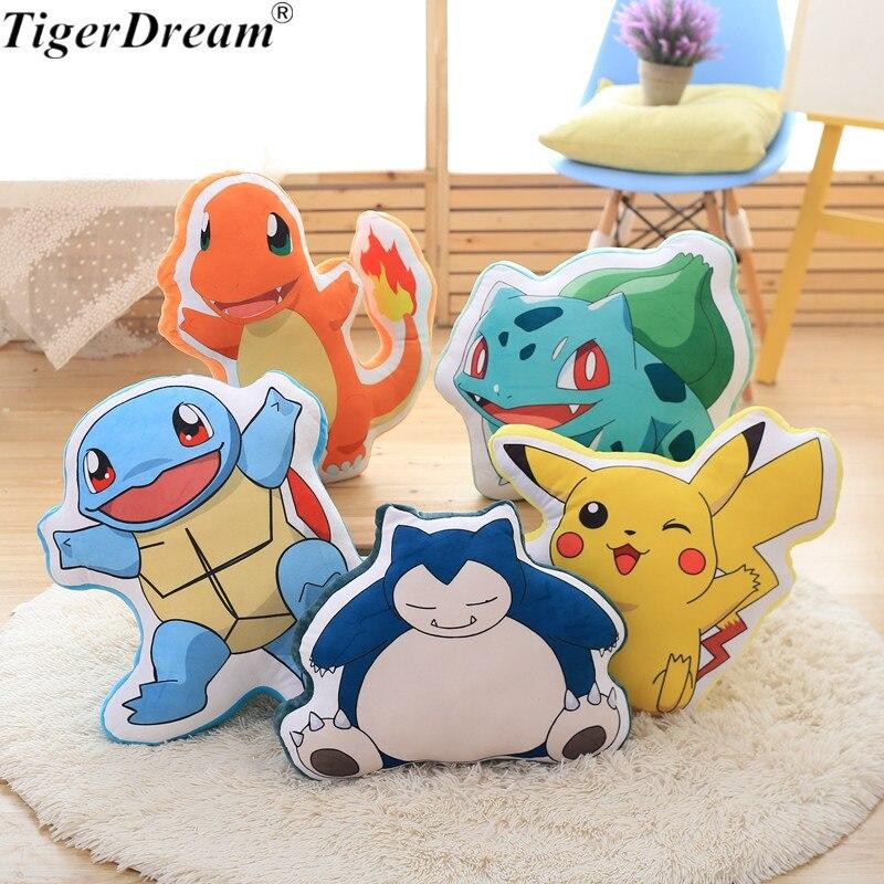 Anime Pikachu écureuil Charmander Bulbasaur ronflement jouet PP coton en peluche oreillers de couchage doux coussins poupée enfants jouets