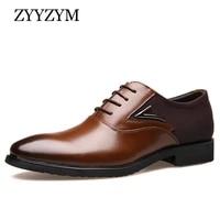 zyyzym formal shoes men spring autumn fashion pointed toe business for men oxfords leather dress shoes large size eur 38 48
