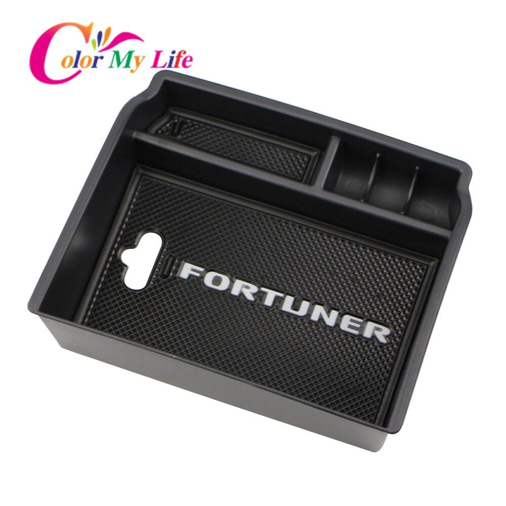 Caja de almacenamiento para reposabrazos compatible con Toyota Fortuner An160 2016 2017 2018 carcasa para coche consola Central contenedor organizador
