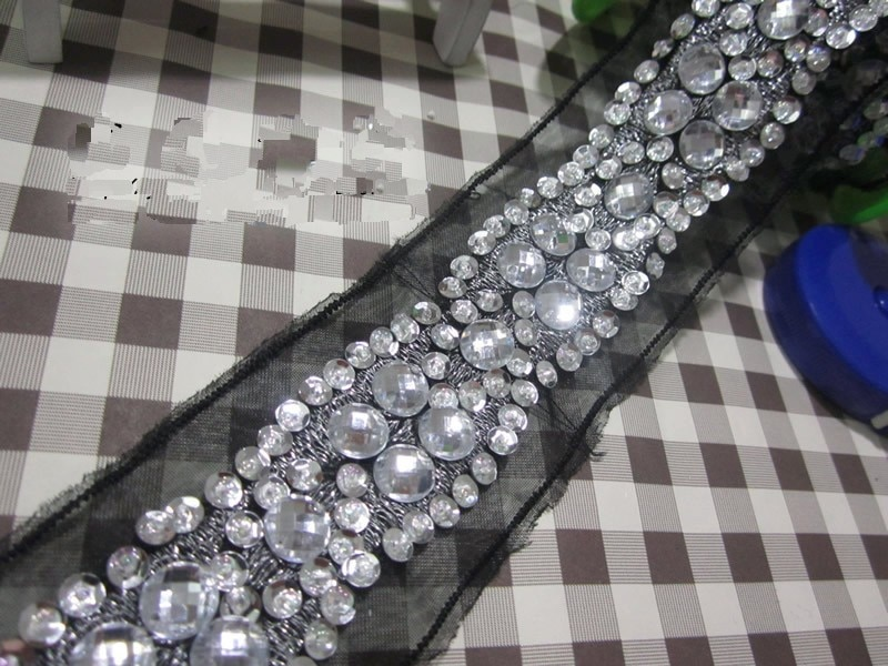 Recorte de encaje con cuentas de diamantes de imitación de malla, cristales...