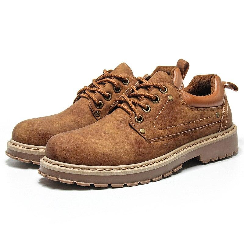 Zapatos de cuero de marca a la moda, zapatos clásicos de tobillo Martin para hombre, zapatos de cuero informales para Jóvenes marrones con cordones