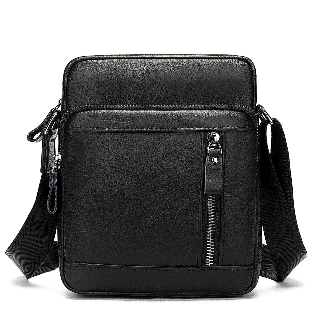 NEW Cow Leather Men Flaps Soft Shoulder Bags Small Black Men Bags Good Quality Vintage Multi-pockets Man Messenger Bags(MLT8028)