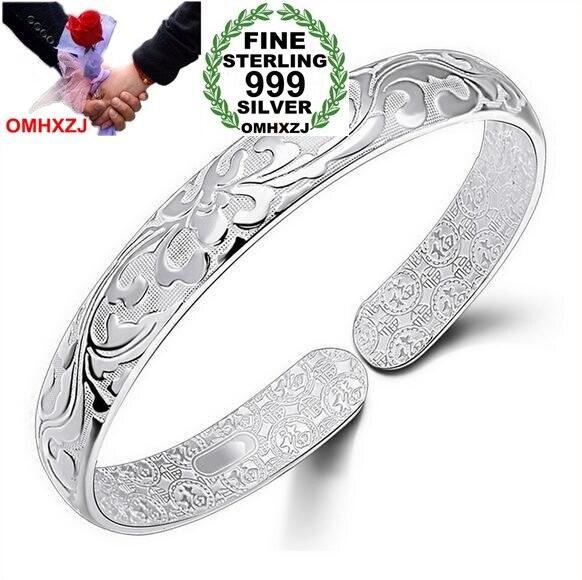 OMHXZJ al por mayor geométrico moda flores Mujer kpop star fina plata de ley 999 de apertura ajustable pulsera brazaletes SZ12