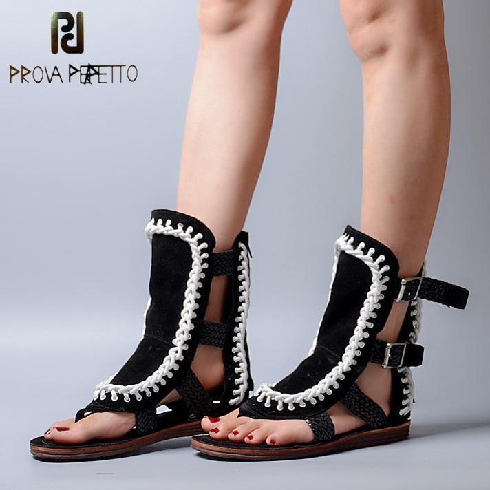 Prova Perfetto-صندل نسائي من جلد الغزال مزود بإبزيم ، أحذية صيفية غير رسمية ، شبشب نسائي ، مجوف ، نسج ، صندل مسطح