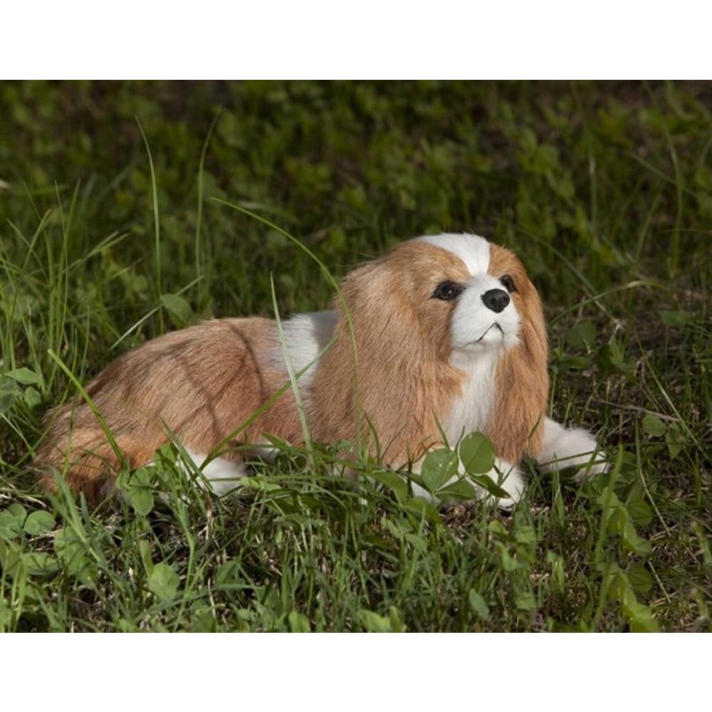 Fancytrader Simulated Stuffed Plush Cavalier King Charles Spaniel Dog Toy for Children Realistic Quality Dog Doll 20cm 7inch