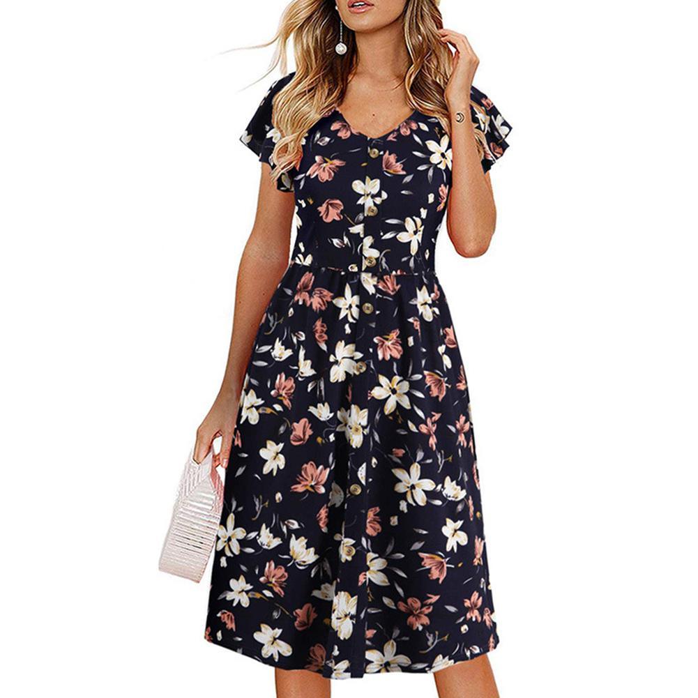 MISSKY Women Summer Dress Navy Blue Color Floral Chiffon Dress Short Sleeve V-collar High Waist Medium Dress Female Clothes