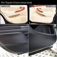 4pcs new interior carbon fiber doors side edge anti kick protection pad sticker for toyota crown 2004 2009