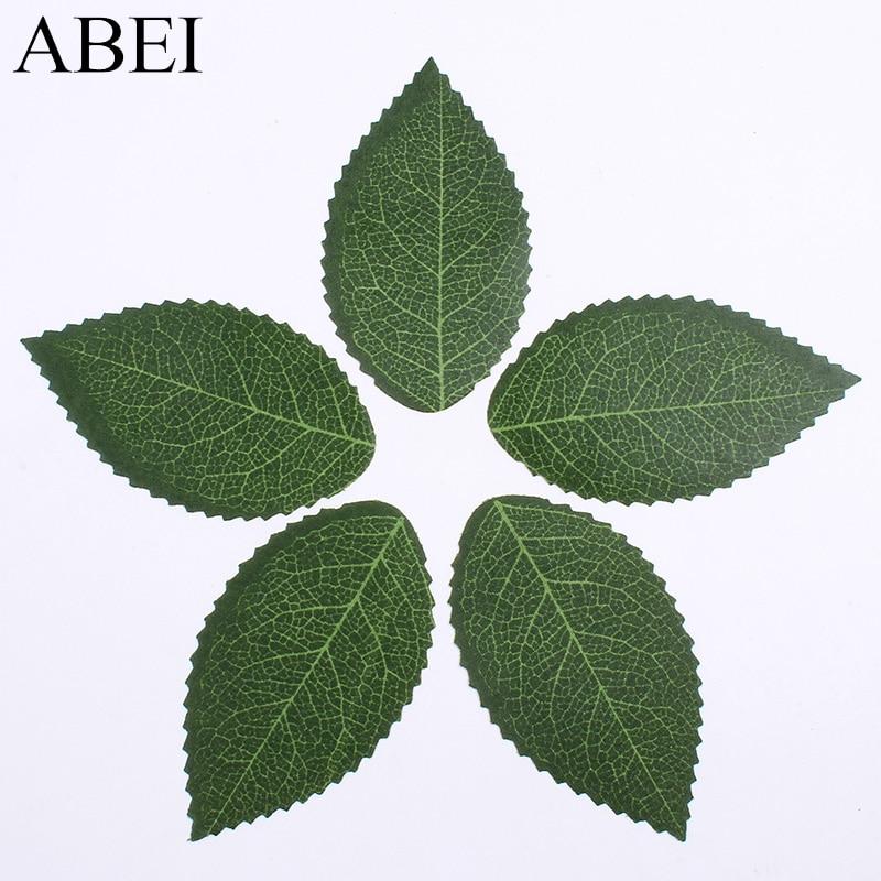 100pcs/lot Lifelike Green Leaf Artificial Silk Flower Leaves For Wedding Home Christmas Decoration DIY Handmade Accessories