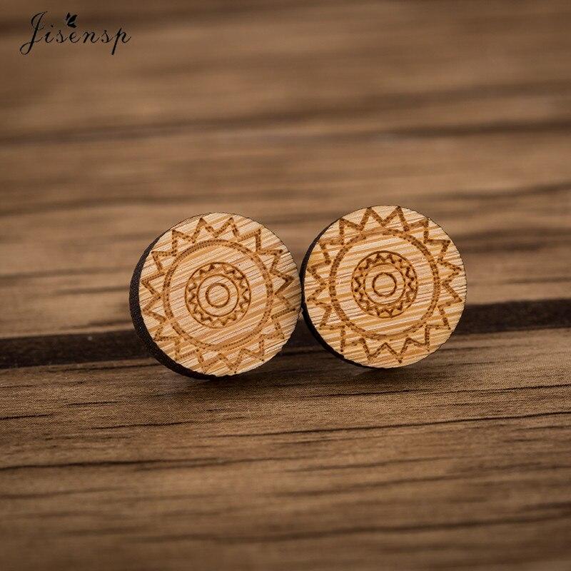 Jisensp Classic Ethnic Round Wooden Earrings Female Boho Geometric Simple Stud Earrings for Girls Ear Jewelry Birthday brincos