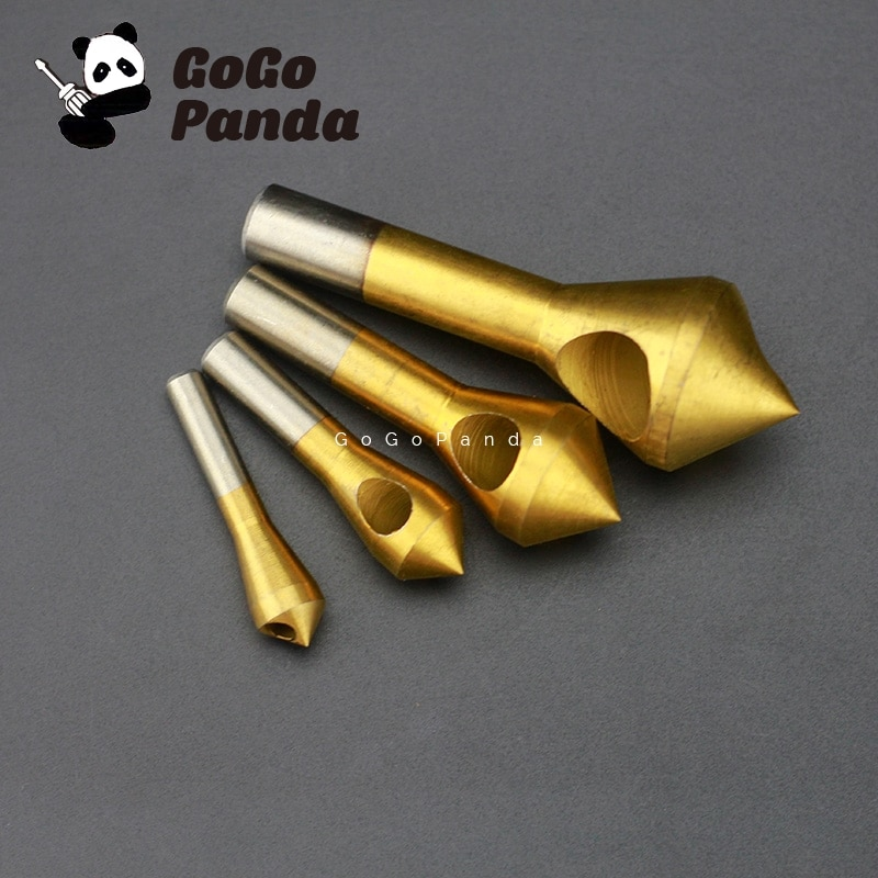 Envío gratis 4 unids/set contador hundido Chapado en titanio taladros chaflán agujero de taladro máquina perforadora inclinada