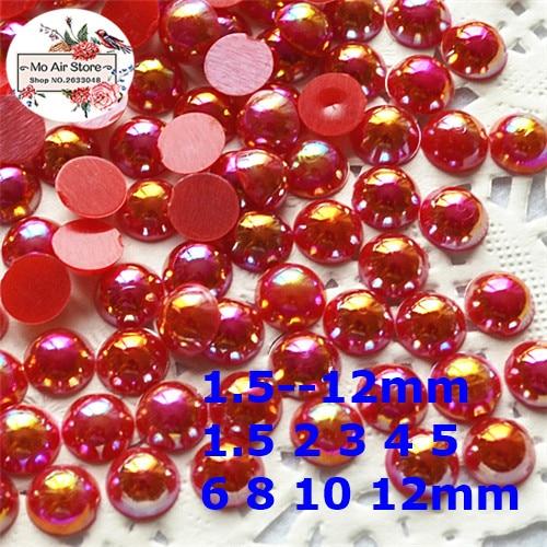 Perles de perles semi-rondes AB rouges cabochon à dos plat en résine ABS perles de perles simulées 2mm/3mm/4mm/5mm/6mm/8mm/10mm/12mm