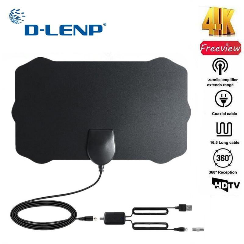 Dlenp DVB-T antena Freeview 25DB ganancia Digital HDTV antena con amplificador de señal DVB-T2 antena de TV 120 millas