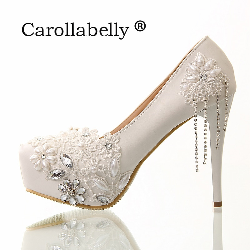 8cm/12cm/10cm/14cm White rhinestone lace flowers bridal shoes high heel and platform with rhinestone tassels wedding shoes