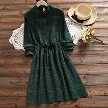 2018 autumn vintage plaid dress for women mori girl fashion long sleeve lady sweet dress
