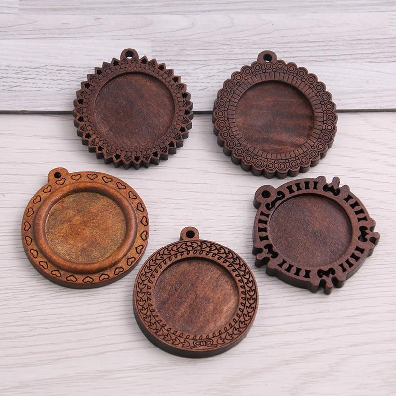 AliExpress - 10pcs/lot Fit 25mm Wooden Round Vintage Glass/Cabochon Frame bezel Settings, Bezel For DIY Bracelet Hole: approx 2.5mm 8D