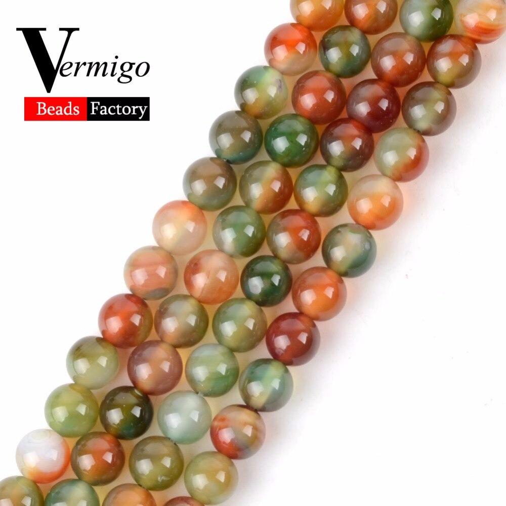 """Multicolor Pavão Ágatas Contas Naturla Pedra Beads Esferas Para Pulseira de Miçangas Fazer Jóias Diy Tamanho 4 6 8 10 12mm 15 """"Vertente"""