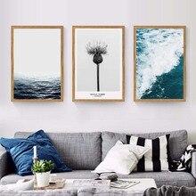 Paisaje marino azul de inhale exhale, diente de león, Pintura Artística de pared, póster de lienzo e impresiones, cuadro moderno de pared, gráfico de murales de arte