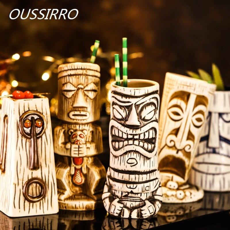 Creativa barra de cerámica TIKI Hawaii copas de champán Copa TIKI copa de vino tinto copa de cocktail Glass Sessile taza amante regalos de cumpleaños