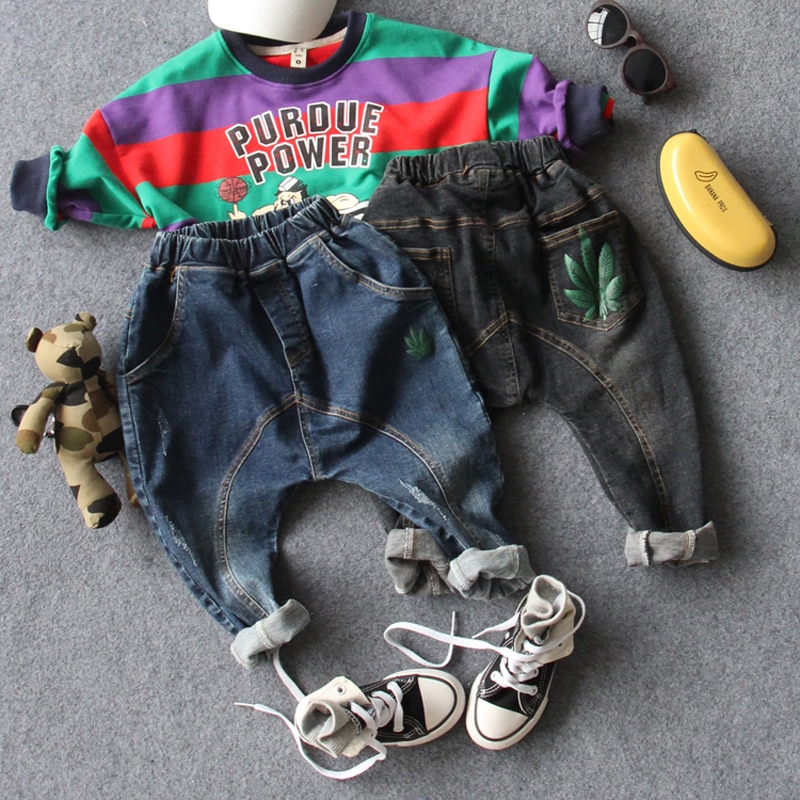 only jeans 1pc new 2018 autumn fashion style cartton boys harem pants kids denim pant children pants boys pants boys jeans