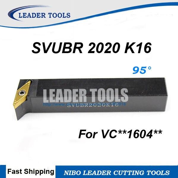 SVUBR/L2020K16 soporte de herramienta de torneado CNC, 20*20*125mm herramientas de torneado externo, herramienta de corte de torno de 95 grados, VCGT1604 soporte de torneado