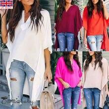 2019 Women Short Flare Sleeve Solid Blouses Ladies Summer Casual Irregular V Neck Beach Loose Shirts Tops Elegant Plus Size 2XL