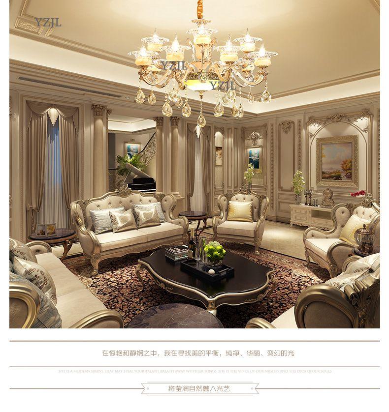 Lustres lumière salon atmosphère de luxe lustre En Cristal Villa hall accueil restaurant Jade Alliage de Zinc lustre Lampe