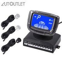 AUTOUTLET 3 Colors Front Rear LCD Display Car Reverse Parking 8 Sensors Buzzer Alarm Reversing Kit Parking sensors