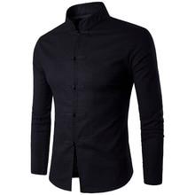 Nieuwe Collectie Mannen Chinese Traditie Stijl Shirt Mans Effen Kleur Mandarijn Kraag shirts Lange Mouwen katoen linnen Casual Shirt