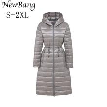 Marca newbang, abrigo largo de plumas para mujer, chaqueta de invierno para mujer, Parka con cinturón de cintura, abrigos cálidos rompevientos con capucha