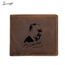Mode hommes poche à monnaie petit sac à main gravé photo Kemal portefeuilles FRID Protection porte-cartes nom en cuir hommes portefeuille