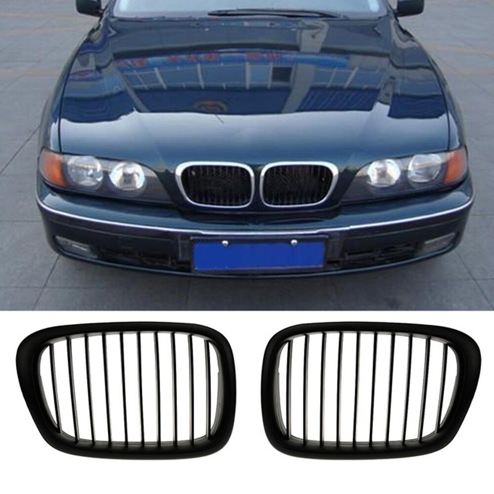 2 uds OEM estilo coche frente negro rejilla ancha de riñón para BMW E39 5 serie 1995-2004 accesorios de coche estilo