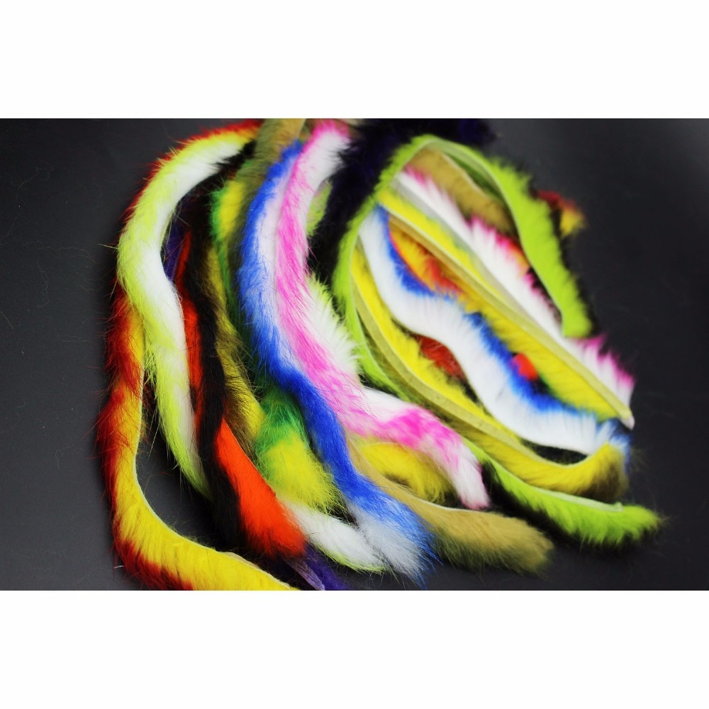 Tigofly Top Quality 10 Colors Double Color Rabbit Zonker Strips Straight Cut 4.5MM Width Hare Hair Fur Bass Fly Tying Materials