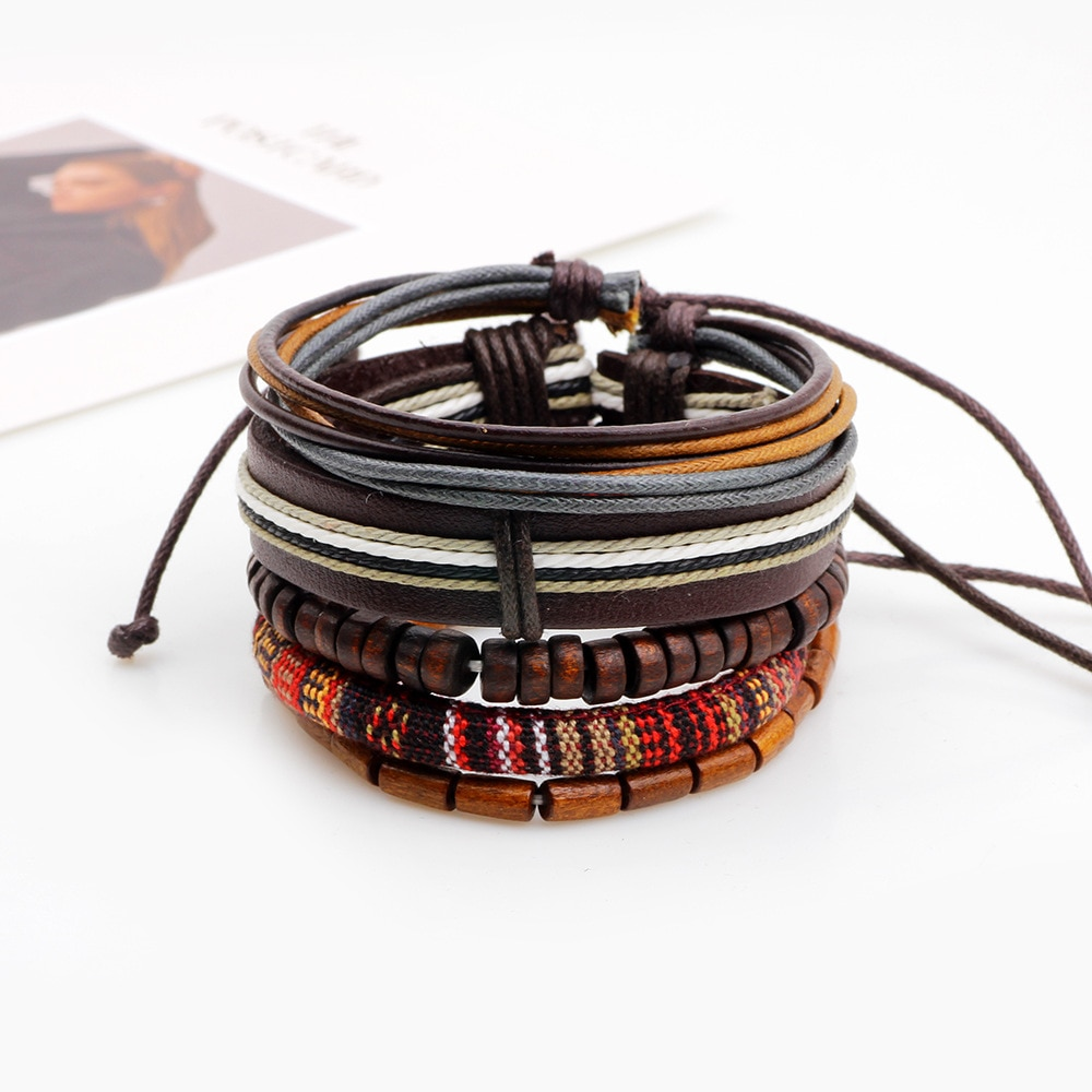 5pcs/set Boho Gypsy Hippie Punk Tibetan Light Dark Brown Wooden Beads Wrap Leather Cord Layers Stack Bracelets Set for Man Woman
