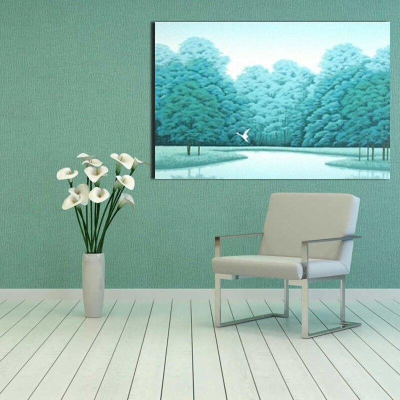 Pintura por número arte pintura por números arte paisaje poético río pequeño árbol Cordero creativo dormitorio pintura decorativa