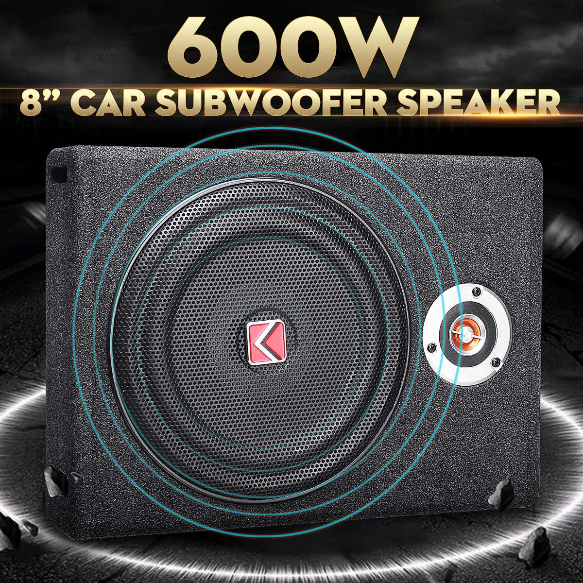 600W Car Subwoofers Speaker 8'' Subwoofer Car Active Slim Under Seat Speaker Stereo Bass Horn Audio Power Amplifier speakers