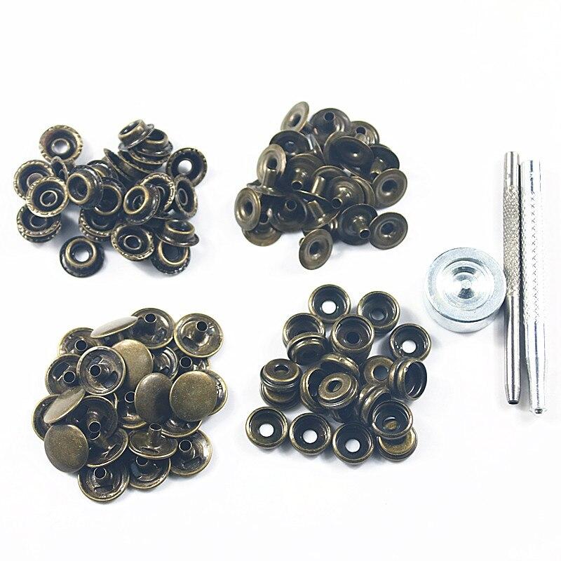 50 компл./упак. 15 мм Металлические пресс-шпильки, швейная кнопка заклепка, крепеж, шитье, кожа, ремесло, сумки для одежды, одежда + инструмент дл...