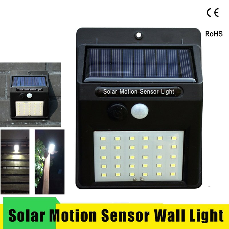 LED Solar Power PIR Motion Sensor Wall Light 20/30 LEDs Outdoor Waterproof Energy Saving Street Garden Yard Security Solar Lamp