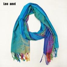 Leo anvi long cotton paisley Floral rainbow Scarf Pashmina foulard luxury Scarf women hijab Tassel Shawl Wrap sjaal