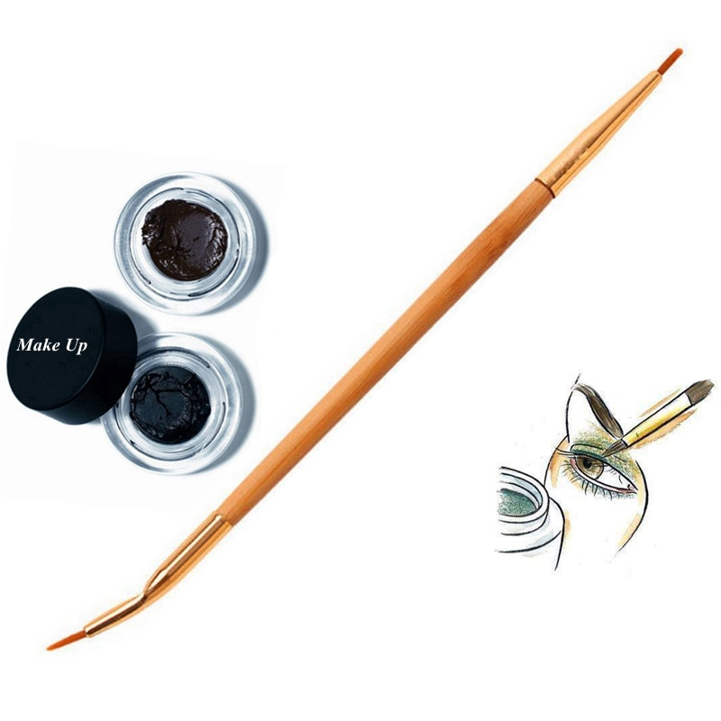 1PC Fashion Beauty Natural Bamboo Handle Bent Double End Eyeliner Brush + Lip Brush Eye Liner Makeup Tools
