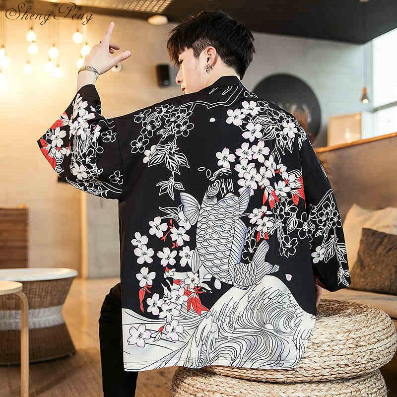 Мужской кардиган кимоно haori yukata костюм самурая пиджак рубашка V1532|Одежда Азии и