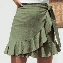 Sexy Mini Skirt Fashion Women Solid Ruffles Bandage Lace Up Short Skirt A-Line Pleated Chiffon Boho Beach Wrap skirts faldas C4