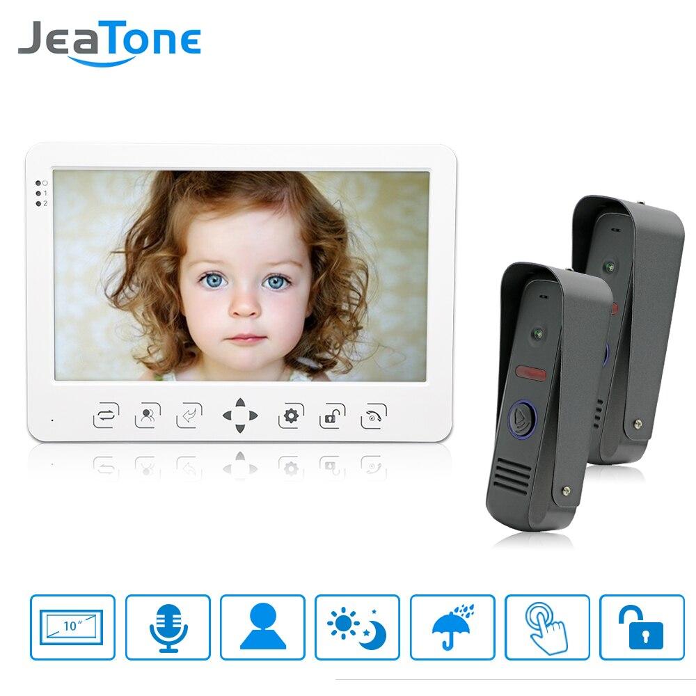 """JeaTone 10 """"de alta resolución de vídeo en color portero sistemas de intercomunicación 1200TVL IR visión nocturna al aire libre timbre de la Cámara Monitor blanco"""